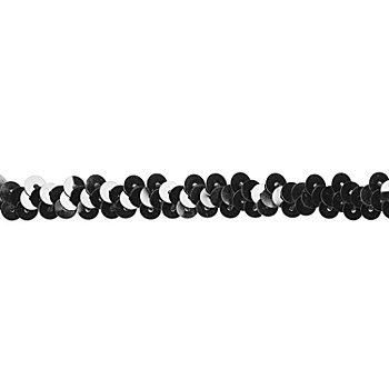Elastik-Paillettenband, schwarz, Breite: 10 mm, Länge: 3 m
