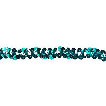 Elastik-Paillettenband, petrol, Breite: 10 mm, Länge: 3 m