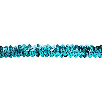 Ruban élastique à paillettes, turquoise, 20 mm, 3 m