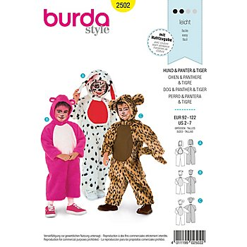 burda Schnitt 2502 'Tier-Overall' für Kinder