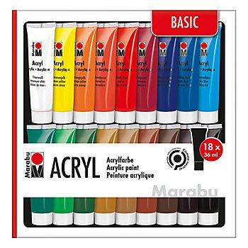 Marabu - Set de peintures acryliques, 18x 36 ml