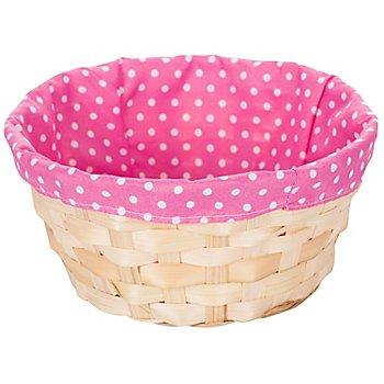 Osterkörbchen mit Stoffeinsatz, pink/weiß gepunktet, 20 cm Ø