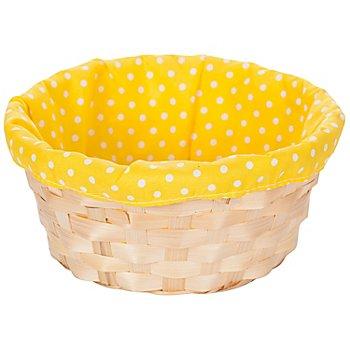 Panier pour Pâques, jaune, à pois, 20 cm Ø