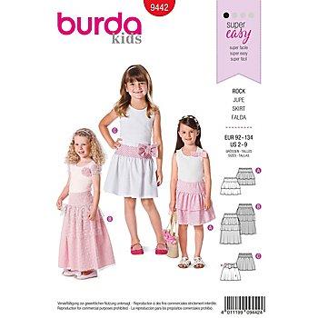 burda Schnitt 9442 'Stufenrock' für Mädchen