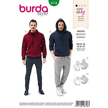 burda Schnitt 6718 'Herrensweater Young'