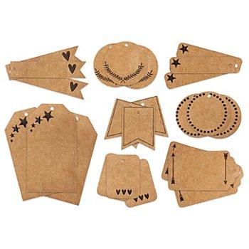 Kraftpapier-Tags, braun, 4 - 8 cm, 24 Stück