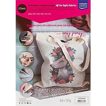 Transferpapier, DIN A4, für helle Textilien, 8 Blätter