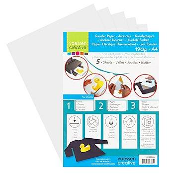 Transferpapier, DIN A4, für dunkle Textilien, 5 Blätter