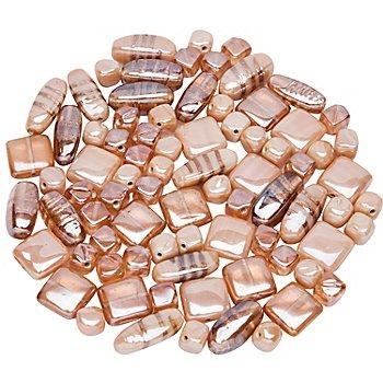 Set de perles en verre, abricot, 10 - 22 mm, 150 g