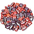 Set de perles en verre, rouge, 10 - 22 mm, 150 g