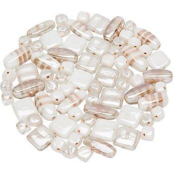 Glasperlen-Mischung, weiß, 10 - 22 mm, 150 g
