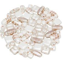 Set de perles en verre, blanc, 10 - 22 mm, 150 g
