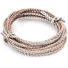 Lederband, geflochten, silber, 3 mm Ø, 2 m