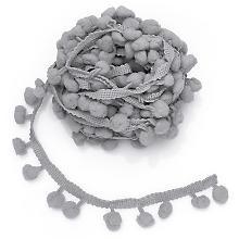 Pompon-Borte, grau, 20 mm, 5 m