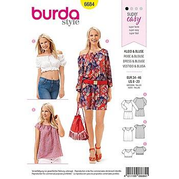 burda Schnitt 6684 'Kleid & Bluse im Carmen-Look Young'