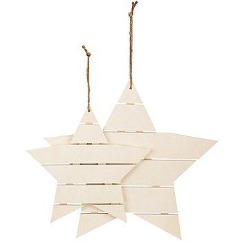 Sterne aus Holz, 26 cm und 35 cm, 2 Stück