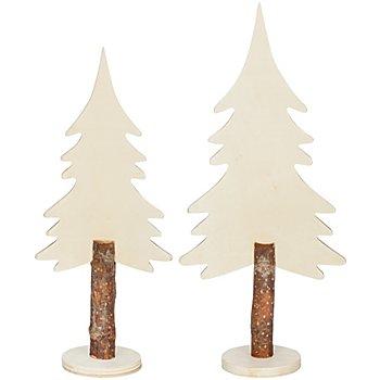 Tannenbäume aus Holz, 25 cm und 30 cm, 2 Stück