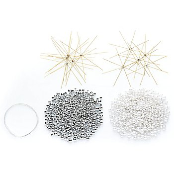 Drahtsterne-Set, weiss-silber, 10 Sterne