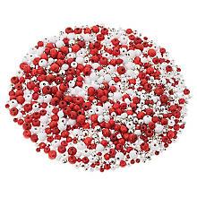 Set de perles, rouge-blanc-argenté