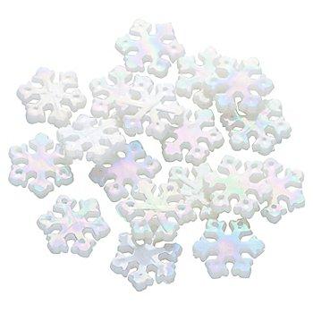 Perles 'flocons de neige', blanc, 1,2 cm, 24 pièces