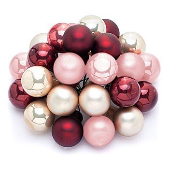 Boules de Noël sur fil métallique, crème/marsala/rose vif, 2 cm Ø