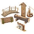"""Accessoires pour crèches """"jardin"""", en bois, 5 pièces"""