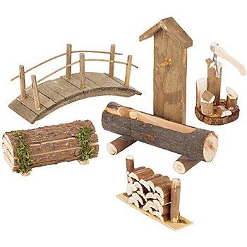 Accessoires pour crèches 'jardin', en bois, 5 pièces