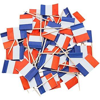 Piques apéro 'drapeau français', 8 cm