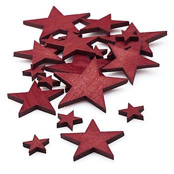 Streuteile 'Sterne', rot, 2,5 - 7 cm, 22 Stück