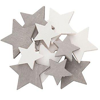 Motifs déco 'étoiles', blanc/gris, 4 - 6 cm, 12 pièces
