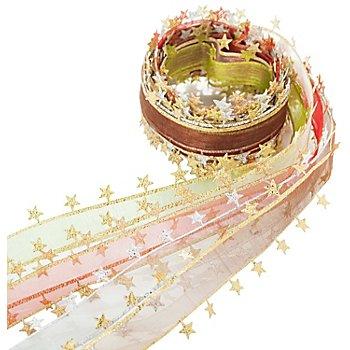 Chiffonbänderpaket 'Sterne', 25 mm, 5x 1 m