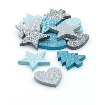 Motifs déco 'étoiles', gris/gris clair/bleu/turquoise, avec des paillettes, 2,5 - 3 cm, 12 pièces