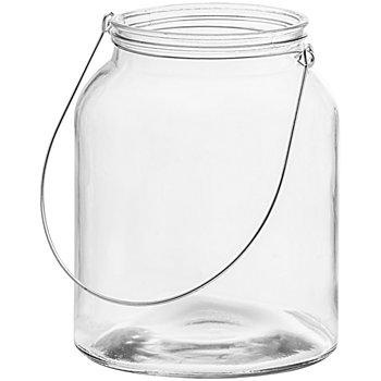 Glas-Windlicht, mit Bügel, 20,5 cm