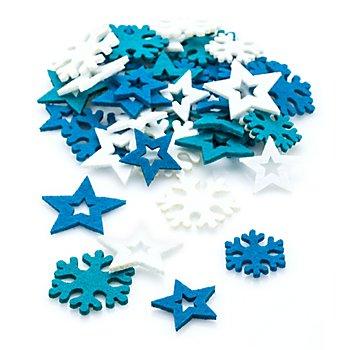 Streuteile 'Sterne und Schneeflocken', 3 - 4 cm, 72 Stück