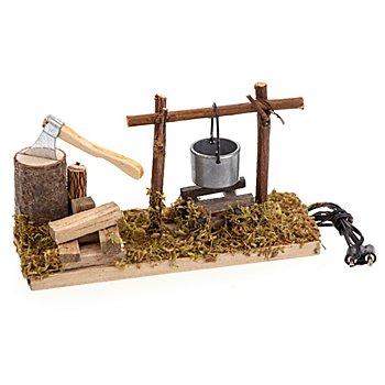 Feuerstelle mit Axt, 12,5 x 5 x 7 cm
