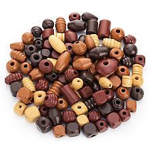 Holzperlen-Mix, Brauntöne, 1–2,5 cm, 500 g