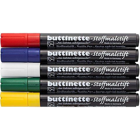 Image of buttinette Stoffmalstifte-Set, für dunkle Stoffe, 5er-Pack