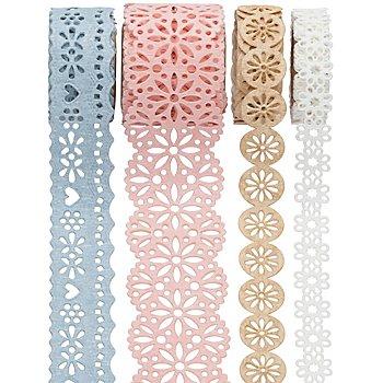 Folia Papierbordüren-Set, pastell, 10–25 mm, 4x 1 m