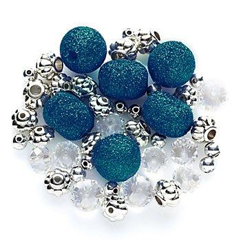 Perlenmix blau-silber-Glitzer, 5 - 15 mm, 45 Stück
