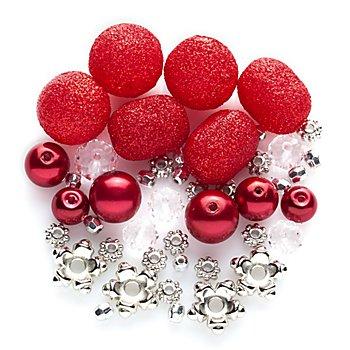 Perlenmix rot-silber-Glitzer, 3 - 15 mm, 45 Stück