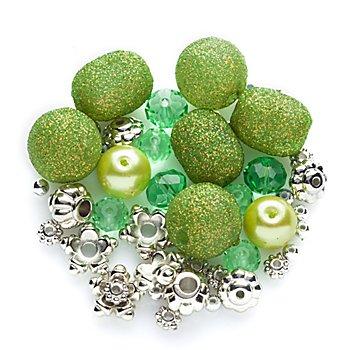 Set de perles, vert/argent, 3 - 15 mm, 45 pièces