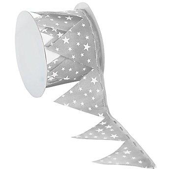 Ruban à froncer 'étoiles', gris/blanc, 5 cm, 2,5 m