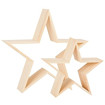 Sterne aus Holz, 24,5 cm und 35 cm, 2 Stück