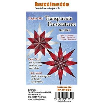 Papierset 'Transparentpapier-Sterne', rot-weiß, 4 Sterne