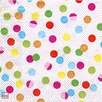 Serviettes en papier 'pois multicolores', 33 x 33 cm, 20 pièces
