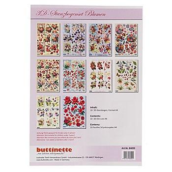 3D-Stanzbogen-Set 'Blumen III', A4, 10 Stück