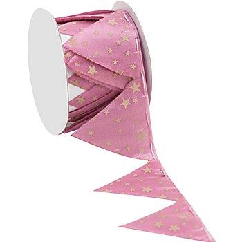 Stoffband Ziehstern 'Sterne', rosa-beige, 5 cm, 2,5 m