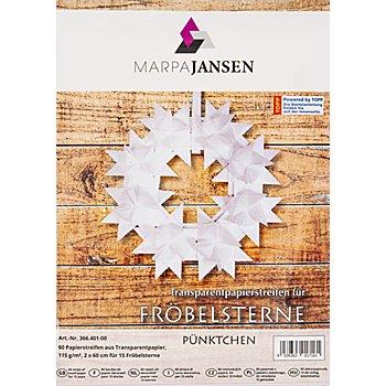 Set de bandes en papier transparent pour étoiles de Fröbel 'pois', transparent/blanc