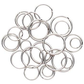 Schlüsselringe-Set, silber, 15 - 30 mm Ø, 30 Stück