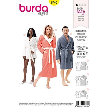 burda Schnitt 6740 'Bademantel' für Damen und Herren